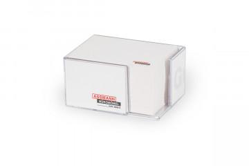 Transparente Kunststoffbox mit ca. 500 weiße Notizzettel
